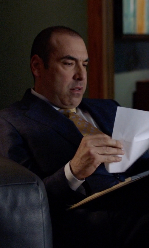 Rick Hoffman with Isaia Faded Dot Linen Tie in Suits