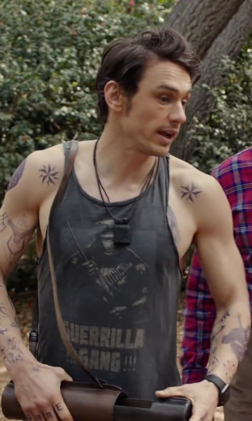 James Franco with Quiksilver Men's Boar Hunter Mesh Graphic-Print Logo Tank in Why Him?