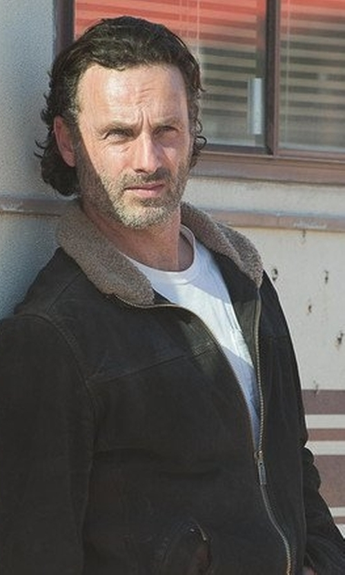 Andrew Lincoln with Haggar  Men's Faux Shearling Jd Jacket in The Walking Dead