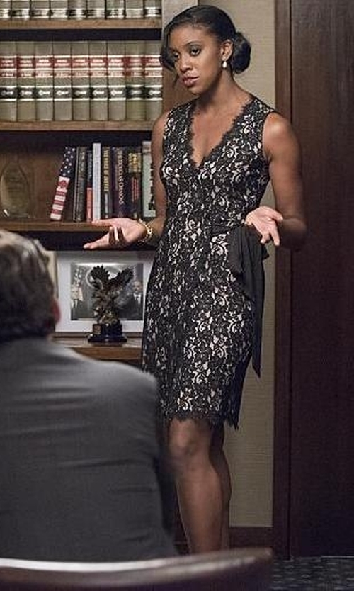 Condola Rashad with Diane Von Furstenberg Julianna Two Lace Wrap Dress in Billions