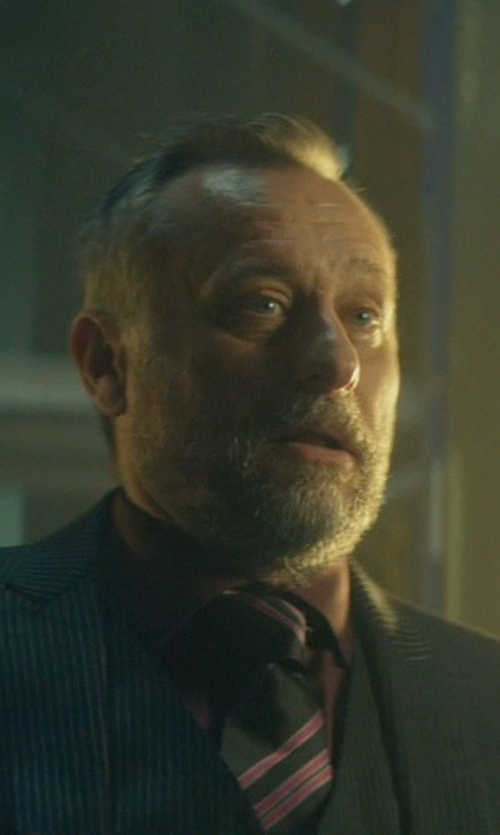 Michael Nyqvist with Geoffrey Beene Sateen Solid Dress Shirt in John Wick