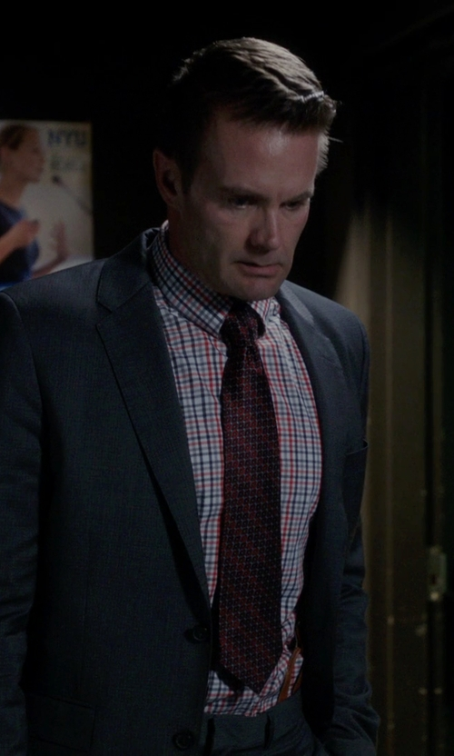 Garret Dillahunt with Salvatore Ferragamo Gancini Grid Silk Tie in The Mindy Project
