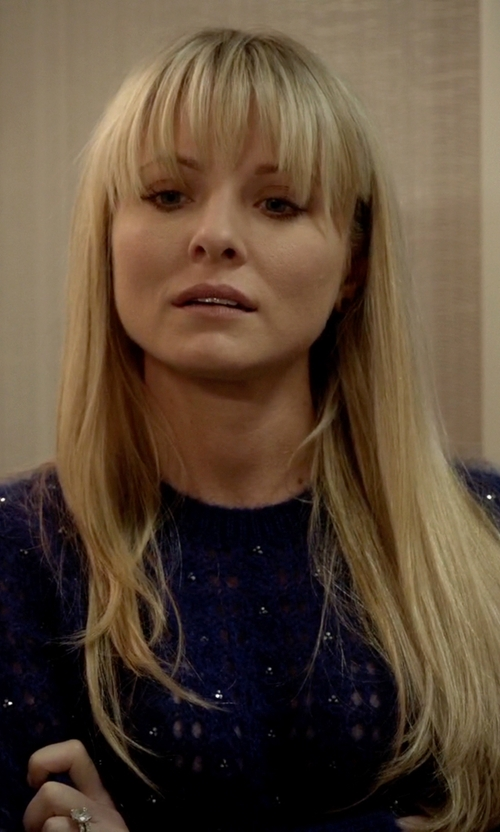 Kaitlin Doubleday with Saint Laurent Crystal Mohair Sweater in Empire