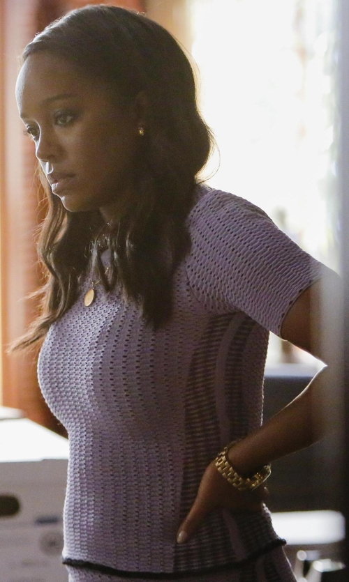 Aja Naomi King with Giambattista Valli Macramé Lace Top in How To Get Away With Murder
