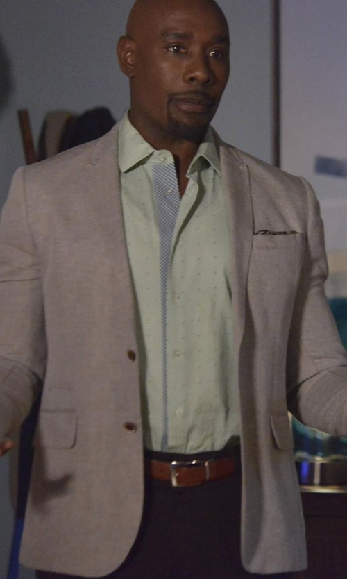 Morris Chestnut with Isaia Gregory Summer Donegal Two-Button Sport Coat in Rosewood