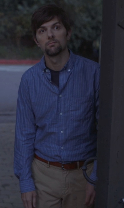 Adam Scott with Armani Herringbone Striped Cotton Dress Shirt in The Overnight