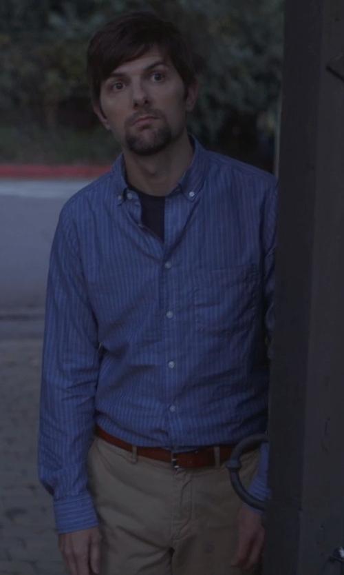 Adam Scott with Armani Herringbone Striped Cotton Dress Shirt in The Overnight