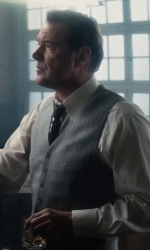 Sebastian Koch with Dolce & Gabbana Wool Gray Striped Button Down Vest in Bridge of Spies