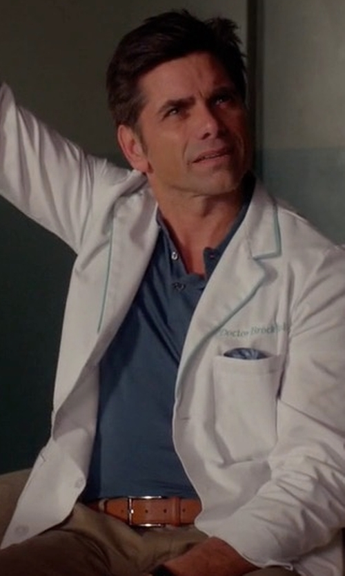John Stamos with Peter Millar Featherweight Polo Shirt in Scream Queens