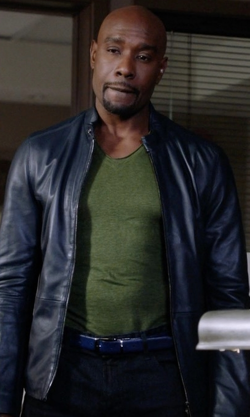 Morris Chestnut with Saks Fifth Avenue Collection Zipper Leather Jacket in Rosewood
