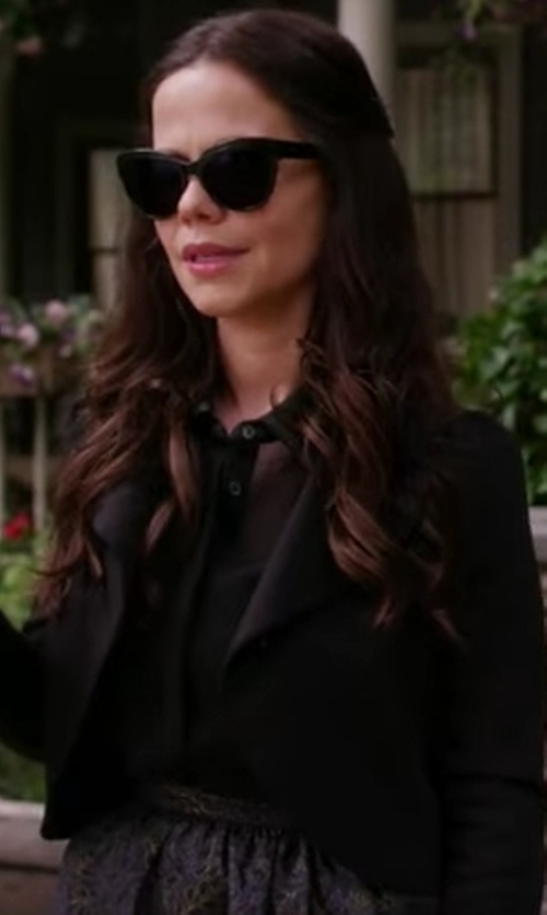 Tammin Sursok with Calvin Klein Satin Open-Front Cropped Jacket in Pretty Little Liars