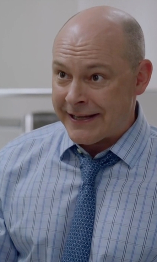 Rob Corddry with Ermenegildo Zegna Box-Check Dress Shirt in Ballers