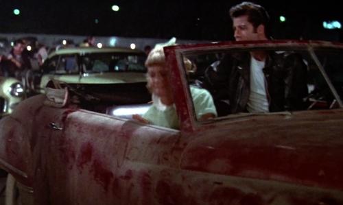 John Travolta with Dodge 1949 Wayfarer Convertible Car in Grease