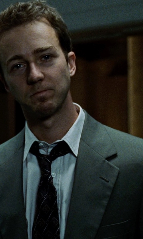 Edward Norton with Perry Ellis Light Grey Sharkskin Slim-Fit Suit in Fight Club