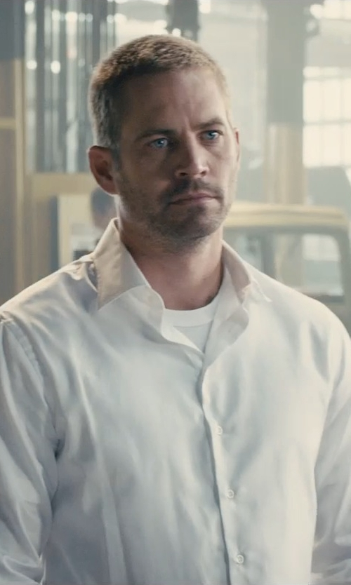 Paul Walker with Ermenegildo Zegna Wide-Stripe French-Cuff Dress Shirt in Furious 7