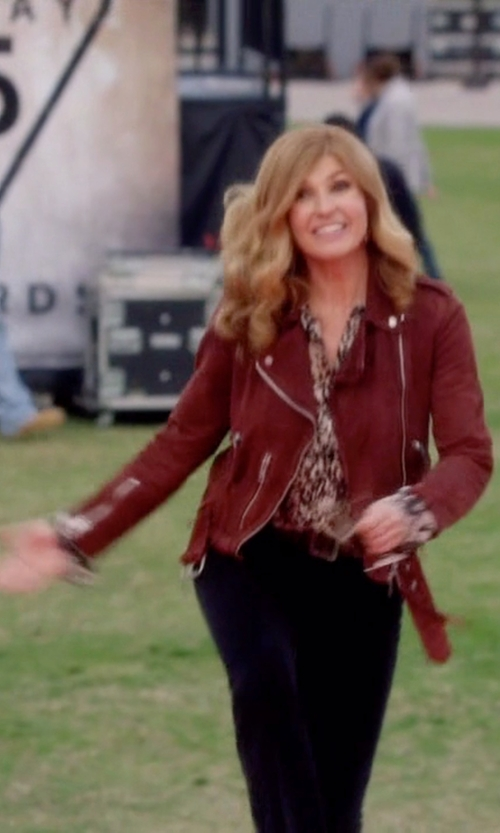 Connie Britton with Silence + Noise Vegan Suede Biker Jacket in Nashville