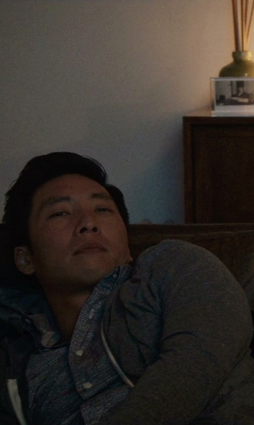 Kelvin Yu with Vince Fine Knit Hoodie in Master of None