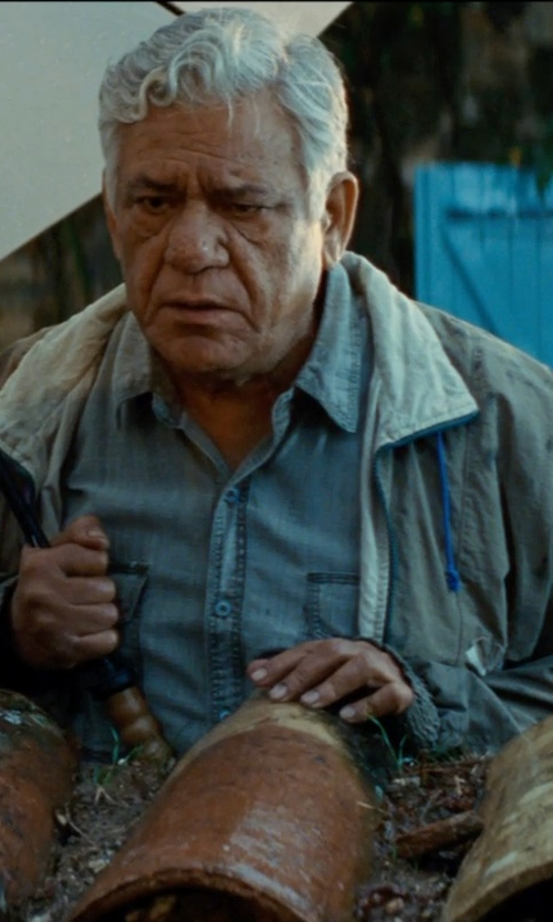 Om Puri with Polo Ralph Lauren Mens Vintage Western Chambray Jean Denim Dress Shirt in The Hundred-Foot Journey