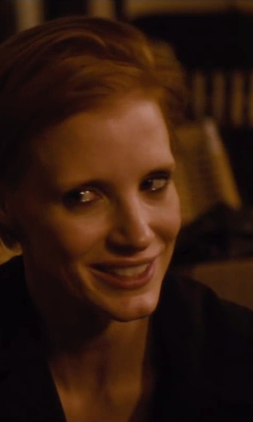 Jessica Chastain with Vince Chevron Shawl Cardigan in The Disappearance of Eleanor Rigby