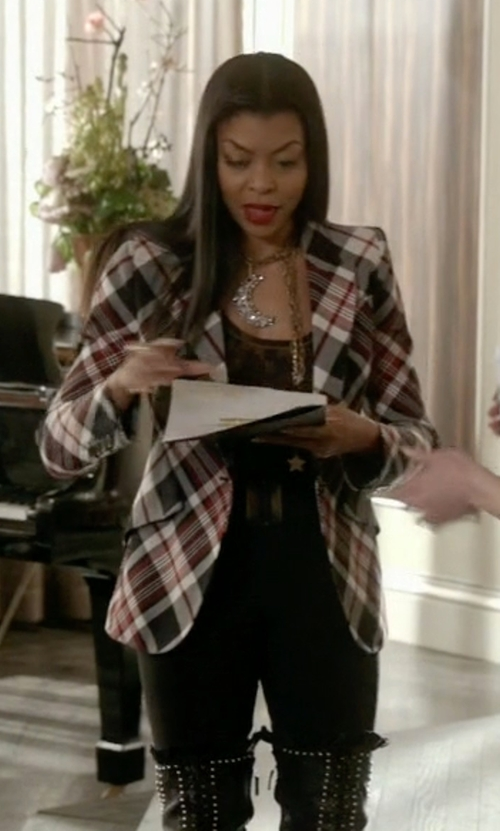 Taraji P. Henson with Each X Other Wool Plaid Jacket in Empire