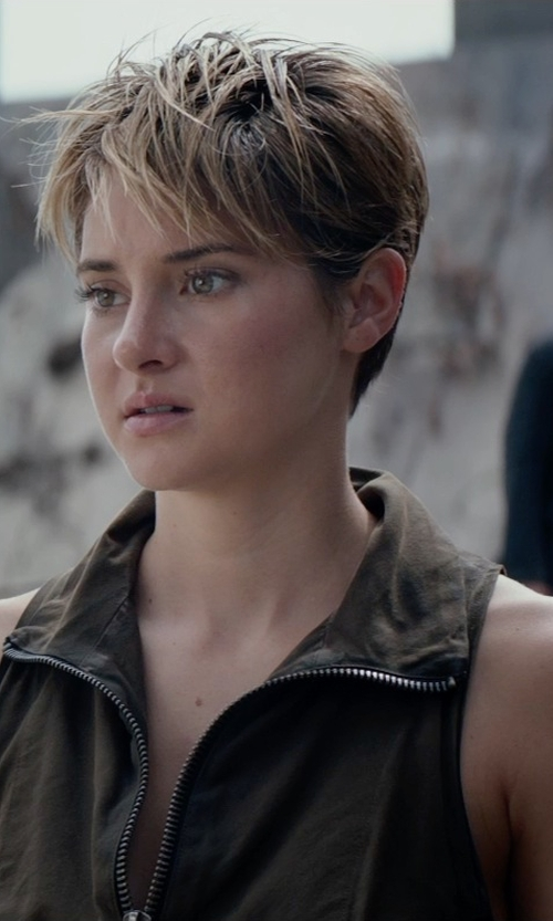 Shailene Woodley with Louise Mingenbach (Costume Designer) Custom Made Vest 'Dauntless' (Tris Prior) in The Divergent Series: Insurgent