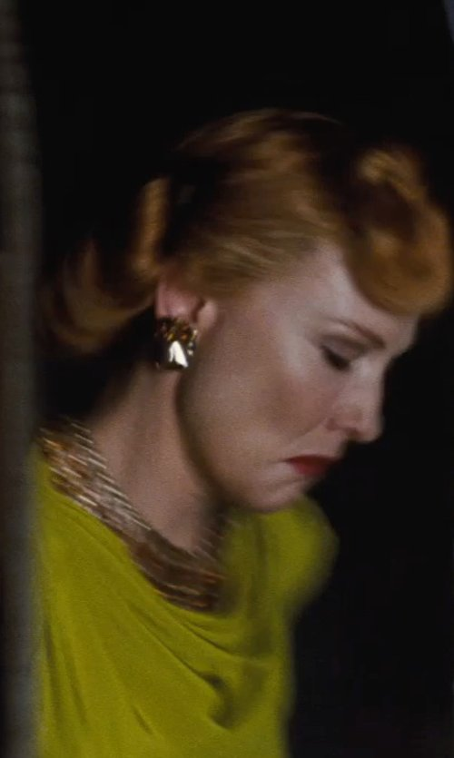 Cate Blanchett with Sandy Powell (Costume Designer) Custom Made Stone Statement Earrings (Lady Tremaine) in Cinderella