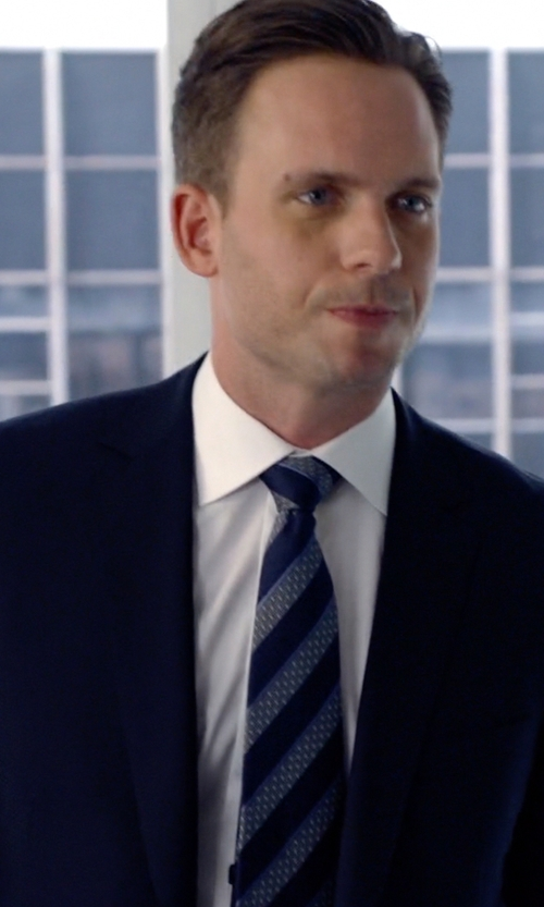 Patrick J. Adams with Eton Slim Fit Dress Shirt in Suits
