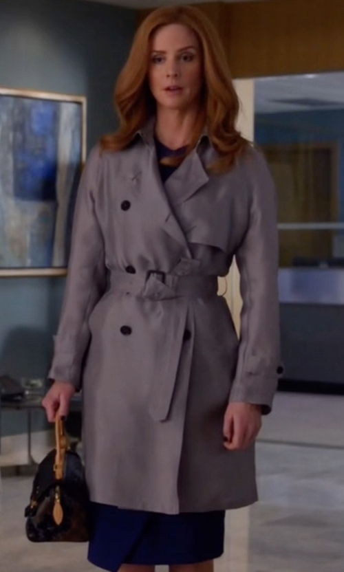 Sarah Rafferty with Armani Collezioni Calvary Double-Breasted Trenchcoat in Suits