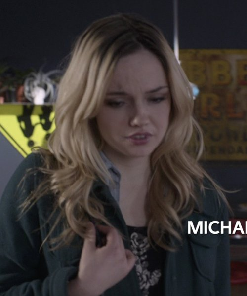 Emily Meade with Adrianna Papell Women's Printed Shirt Dress in That Awkward Moment