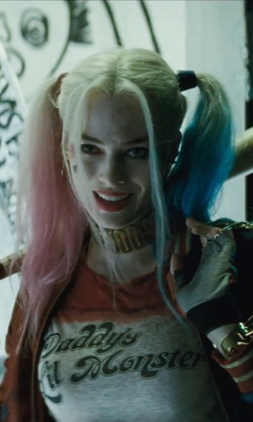 "Margot Robbie with Kate Hawley (Costume Designer) Custom Made ""Puddin"" Collar Necklace in Suicide Squad"