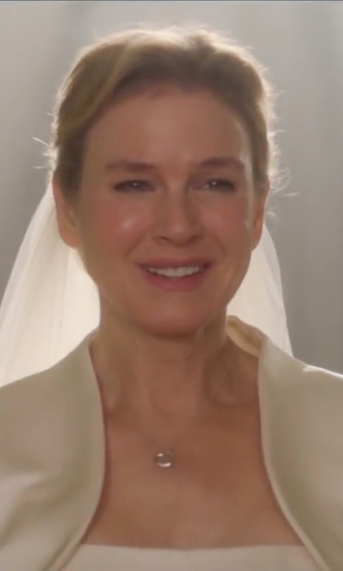 Renée Zellweger with Angel Formal Dresses Embroidey Satin Wedding Dress in Bridget Jones's Baby