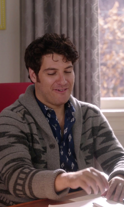 Adam Pally  with Retrofit Aztec Cardigan in The Mindy Project