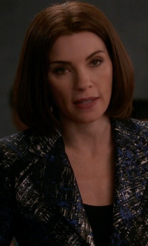 Julianna Margulies with Escada Bastar Logo Jacket in The Good Wife