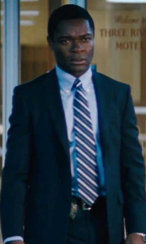 David Oyelowo with Kenneth Cole Reaction Men's Slim-Fit Navy Tonal Striped Suit in Jack Reacher