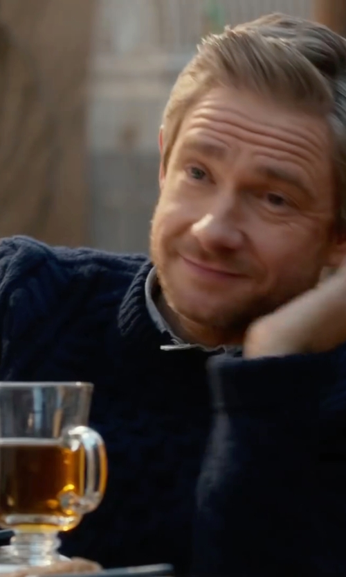 Martin Freeman with Topman Cable Knit Front Crewneck Sweater in Whiskey Tango Foxtrot