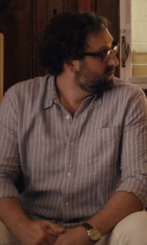 Eric Wareheim with Etiquette Franklin Pencil Stripe Shirt in Master of None