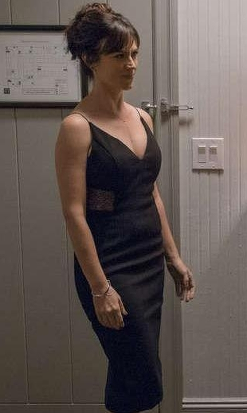 Maggie Siff with Nicholas Crepe Insert Dress in Billions