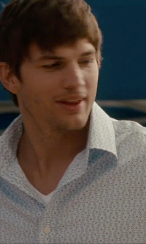 Ashton Kutcher with Bugatchi Check Cotton Sport Shirt in No Strings Attached