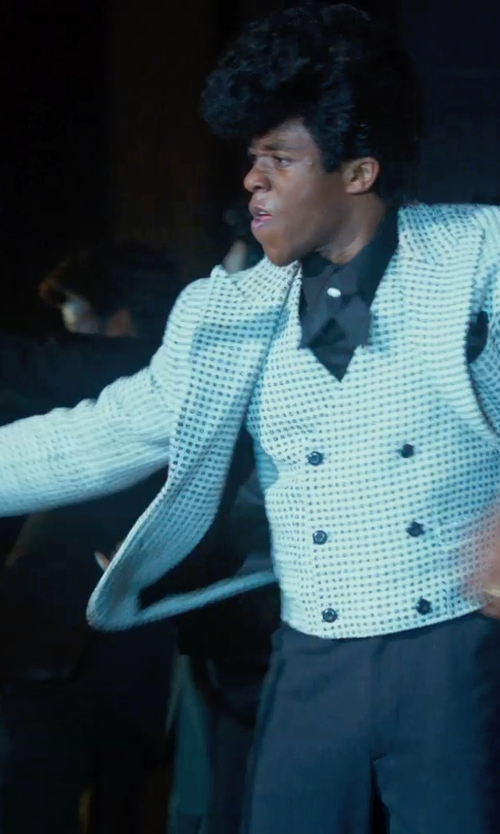Chadwick Boseman with LUBIAM Blue And White And Brown Gingham Check Nylon Blend 2-Button Blazer in Get On Up