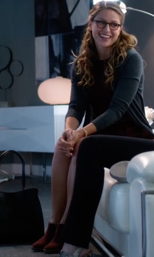 Melissa Benoist with Sigerson Morrison Belin Suede Ankle Boots in Supergirl