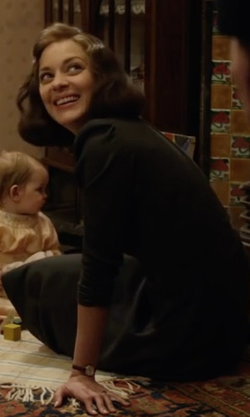 Marion Cotillard with Magaschoni Cashmere Long-Sleeve Fit-&-Flare Dress in Allied