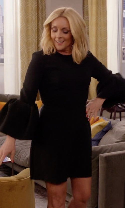 Jane Krakowski with Roksanda Hadari Bell-Sleeved Cady Dress in Unbreakable Kimmy Schmidt