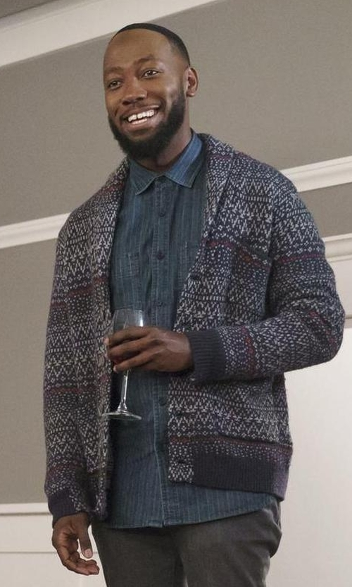 Lamorne Morris with Life/After/Denim 'Anchorage' Fair Isle Shawl Collar Cardigan in New Girl