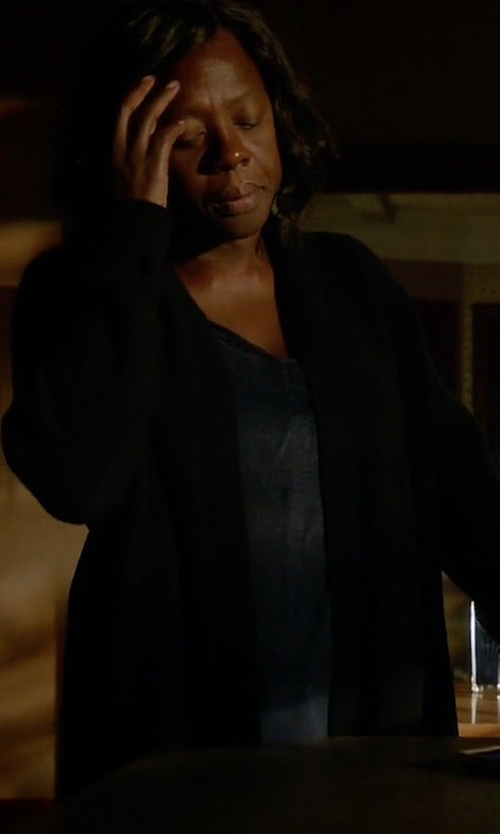 Viola Davis with Neiman Marcus Cashmere Collection Cashmere Draped Cardigan in How To Get Away With Murder