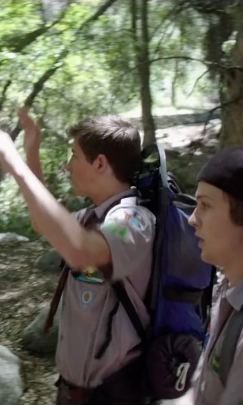 Tye Sheridan with Outdoor Products Dragonfly External Frame Pack in Scout's Guide to the Zombie Apocalypse