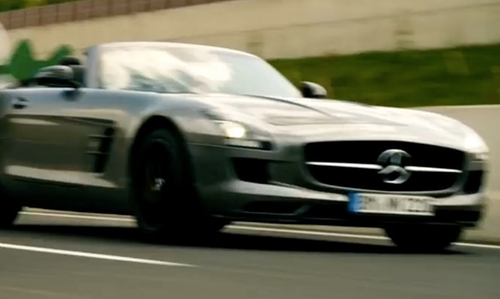 Nicholas Hoult with Mercedes-Benz 2012 SLS AMG Convertible in Collide
