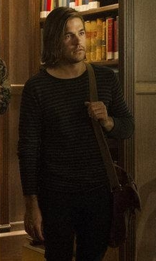 Jason Ralph with Frye Logan Small Leather Messenger Bag in The Magicians