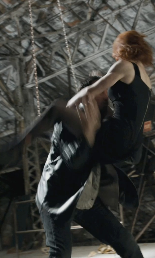 Scarlett Johansson with Armani Collezioni Midnight Tank Dress in Marvel's The Avengers