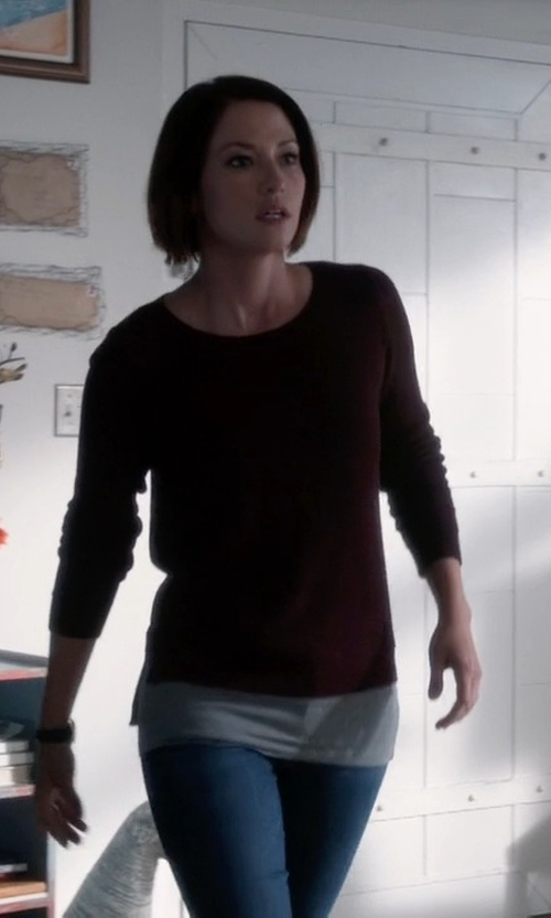 Chyler Leigh with Pendleton Washable Silk-Blend Jewel Neck Pullover in Supergirl