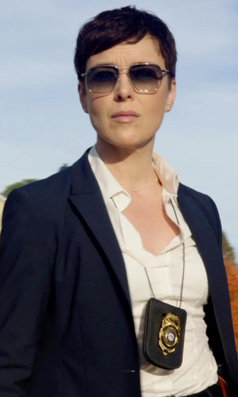 Olivia Williams with Vince Georgette Button-Down Blouse, White in Sabotage